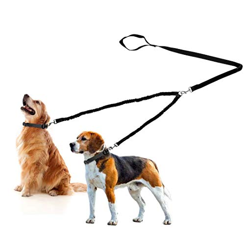 - Fuzzymoo Double Dog Leash, Dual Dog Leash Coupler, 360° Swivel Durable No Tangle, Shock Absorbing Reflective Bungee Training Dog Leash for Two Dogs Plus Waste Bag Dispenser & Dog Training Clicker (M)