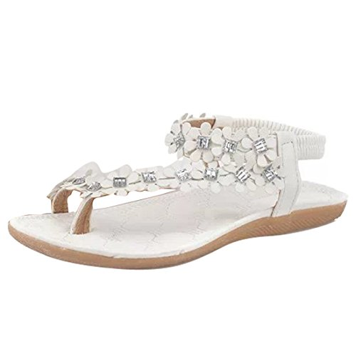 Women Ladies Beach Bohemia Sandals Slingback Ankle Strap Slingback Rhinestone Flower Flats Thong Slipper