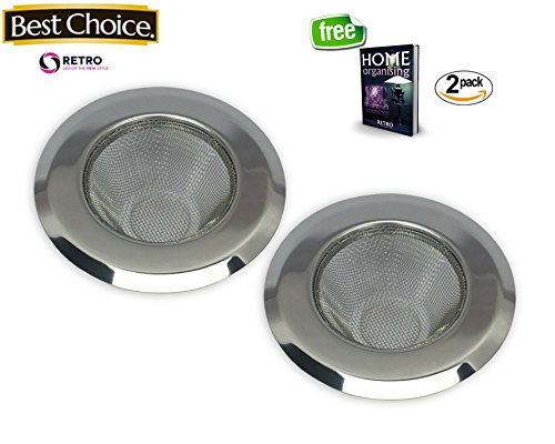 2-Piece Kitchen Sink Strainer With Mesh Construction –By RETRO. Large Wide Rim 4.5in Ultimate Quality, Stops Clogging.Perfect for