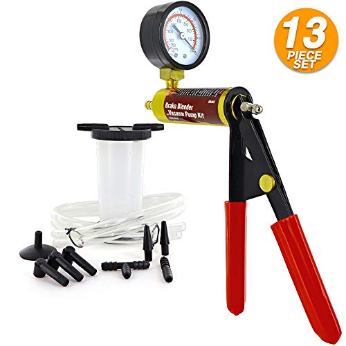 Ram-Pro Brake Bleeder Kit Handheld Vacuum Pump Test Set Vacuum Pressure Pump Leakage Tester for Automotive Adapters One-Man Brake and Clutch Bleeding System