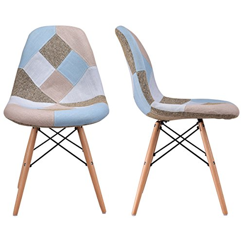 Giantex Linen Fabric Accent Dining Chairs Set of 2 Modern DSW Style Upholstered Leisure Chair Mid Century Chairs Armless Living Room Chair, 2 PCS by Giantex (Image #3)