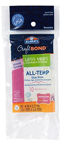 "Elmer's Craft Bond Less Mess All-Temp Mini Glue Sticks, 4""x0.27"", 10 Count (E6054)"