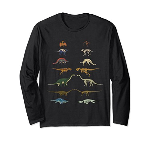 Unisex Dinosaurs T-Shirt Museum & Skeletons Fossils Types T-Rex XL: Black