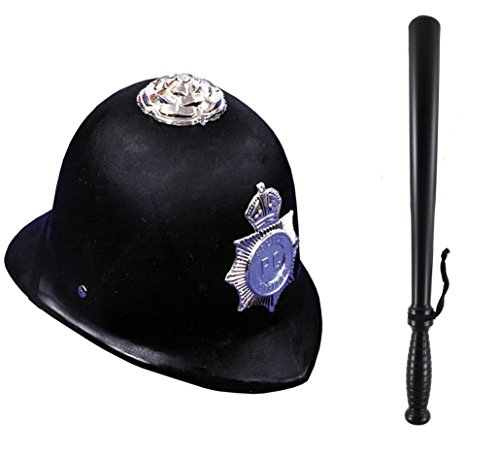 Police Officer Black Hat Billy Club Baton Toy Halloween Costume Accessory Set -