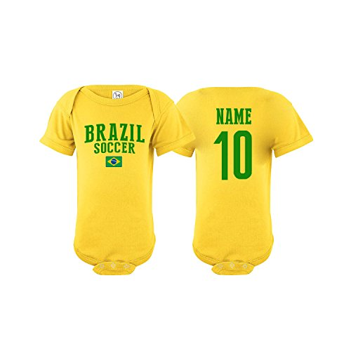 (Brazil Bodysuit Flag Soccer Ball Infant Baby Girls Boys Personalized Customized Name and Number (Bodysuit 12M))