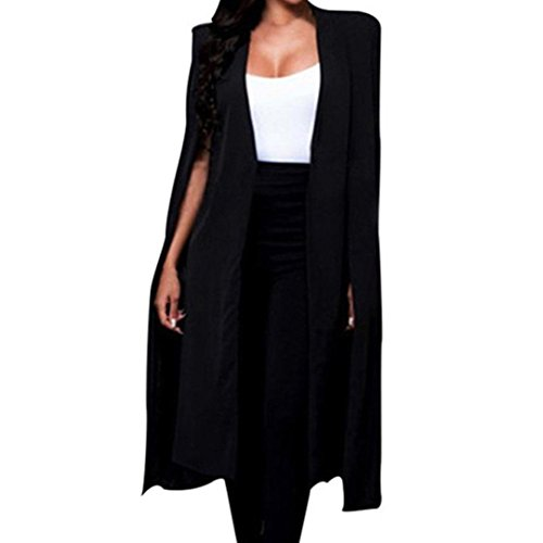 Coat Black Women Designed Long Cardigan Style Slim Cape Coat Hiahui Loose Solid Blazer Jacket High Cloak Unique Quality AwTdaq