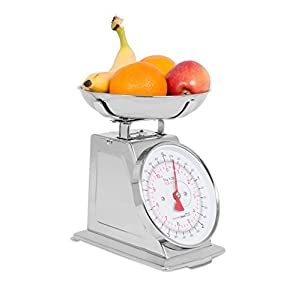 Internet's Best Mechanical Kitchen Food Weight Scale with Bowl | Accurate Measurements | Classic | Weighs Up 11 Lbs | 5KG | Stainless Steel