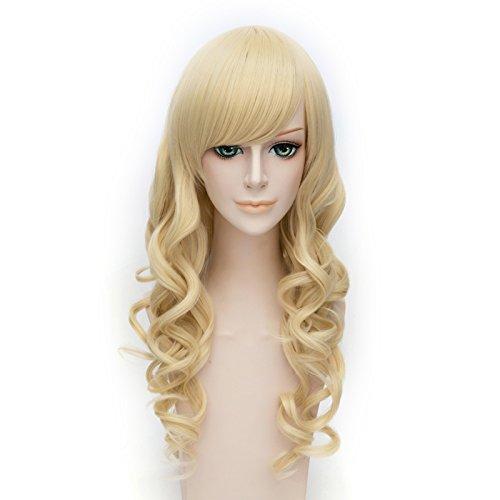 70 cm Halloween Party Long Curly Women Anime Lolita Cosplay Wig Full Wigs+Wig Cap (Light Blonde) (Light Blonde Wig)