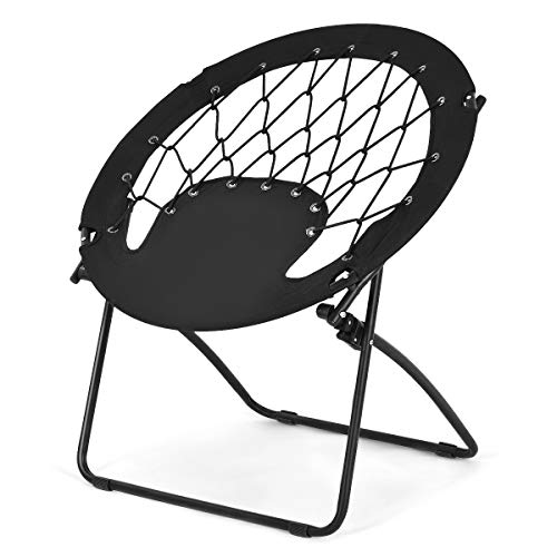 Goplus Bungee Chair Outdoor Camping Gaming Hiking Garden Patio Portable Steel Folding Bunjo Dish Chairs (Classic Black) (Catcher Chair Dream)