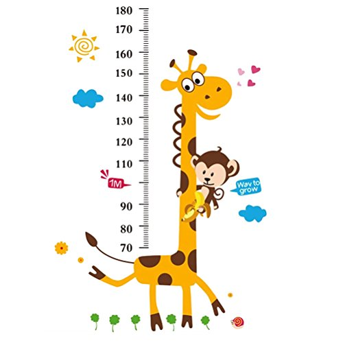 Toyvian Creative DIY Decal Naughty Monkey and Yellow Giraffe Height Chart Wall Stickers Adhesive Wallpaper for Background in Kindergarten Bedroom Living Room Home - Adhesive Height Chart