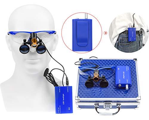 Ocean Aquarius Blue 2.5X420MM Surgical Binocular Loupes Magnifier +5W Portable LED Headlight Plug in Clip Head Light with Filter +Aluminum Box 008
