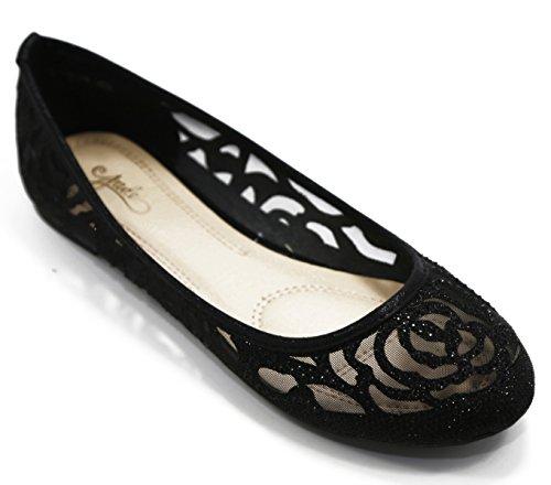 Walstar Women Flat Slip on Shoes (8 B(M) US, Black)
