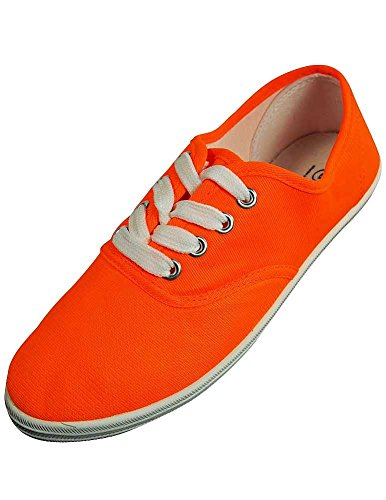 Orange Shoes Sneakers Neon Canvas USA up Womens Lace Plimsol Easy xFATqwW
