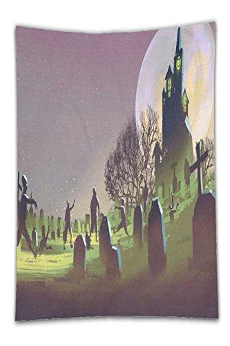 Beshowereb Fleece Throw Blanket Halloween Eve Home Decor TapestrieArt Spooky Castle Art Set .jpg
