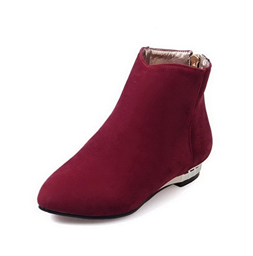 AllhqFashion Womens Low-Heels Solid Pointed Closed Toe Frosted Zipper Boots Red 7tp7fEu
