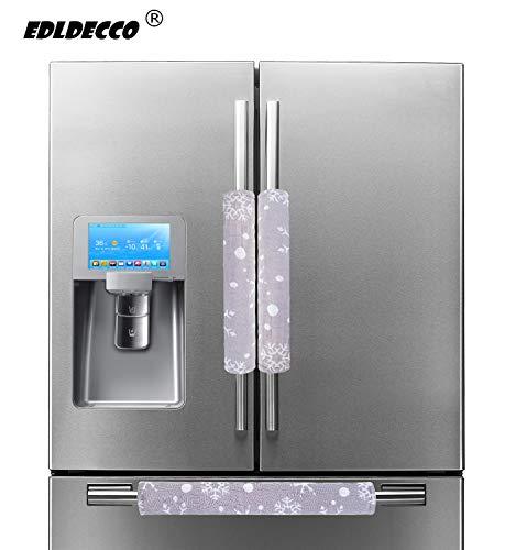 Price comparison product image EDLDECCO Handicraft Refrigerator Door Handle Covers Fridge Oven Dishwasher Handle Protectoer White Snowflake Grey Bottom