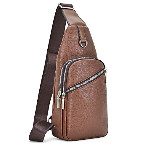 (Soft Vegan Leather Sling Bag Pebbled Leather Casual Crossbody Shoulder Backpack Travel Hiking Vintage Chest Bag Daypacks for Men (Brown))