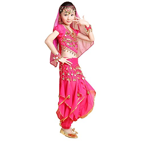Pilot-trade Girl Veil&Top&pant&Belt&Bracelet Halloween Indian Belly Dance Costumes Dark Pink - Costumes For Indian Dances