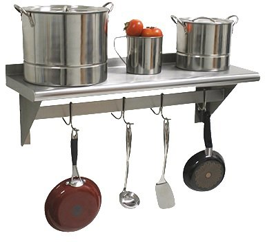 Advance Tabco PS-12-60-X Shelf, wall-mounted with pot rack, stainless steel, 12