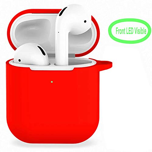 Compatible with Airpods 2 Wireless Charging Case,360 Protective Silicone AirPods Shockproof Accessories Kit Skin Silicone Chargeable Headphone Case - Clip Kit Silicone Belt Skin