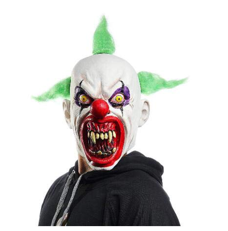 YU FENG Scary Halloween Clown Mask with Green Hair for Adults Horror Halloween Party Cosplay Clown Costume Props