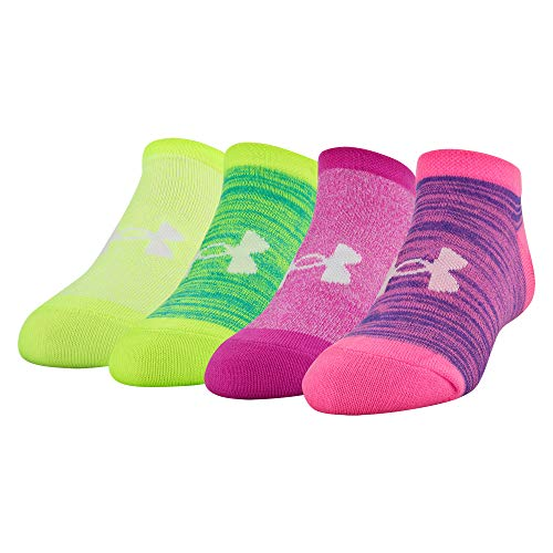 Under Armour Essential No Show Socks 4 Pairs, Pink Punk Assorted, Youth Large
