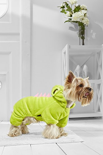 Dino Toy Dog Halloween Costume For Yorkie Pomeranian Chihuahua Papillon Min Pin (Medium Toy Size, lime, pink)