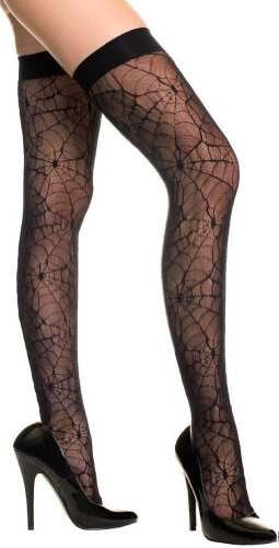 ToBeInStyle Women's Sheer Spider Web Thigh Hi Stockings - Plus/Queen - Size - ()