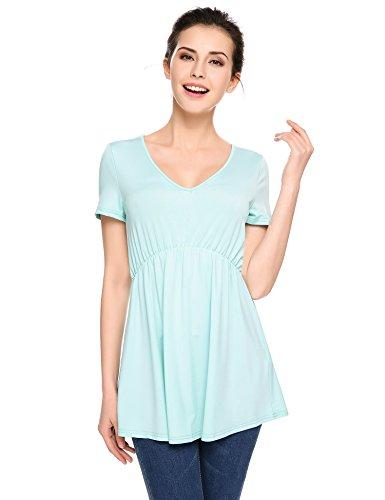Empire Waist Maternity Shirt (Zeagoo Women's Scoop Neck Casual Tunic Blouse Empire Waist Peplum Tops Light Blue Small)