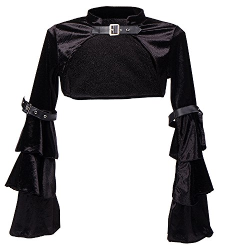 Killreal Women's Buckled Long Sleeved Velvet Cropped Shrug Bolero Jacket for Evening Dress Black Large ()