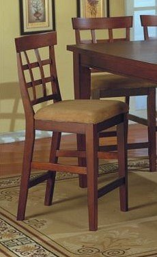 Set of 2 Contemporary Dark Brown Counter Height Chair Bar Stool