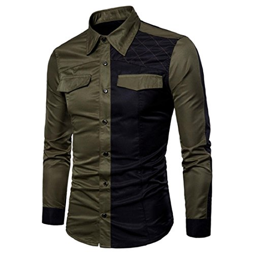 Men's Long Sleeve Dress Shirt Casual Colorblocked Slim Fit Oxford Shirts Tops (S, Army Green) by GONKOMA Mens Shirts