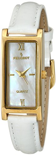 Peugeot Women's 14K Gold Plated Mother of Pearl Roman Numeral Face Glossy White Leather Thin Skinny Strap Dress Watch 3017WT ()