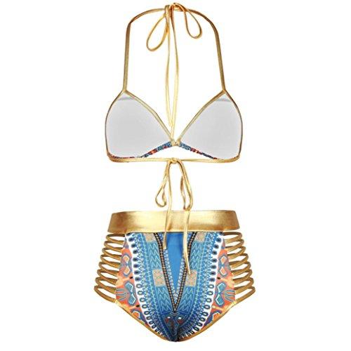 Ouneed Mujeres africanas de impresión bikini Set traje de baño push-up bañador Azul
