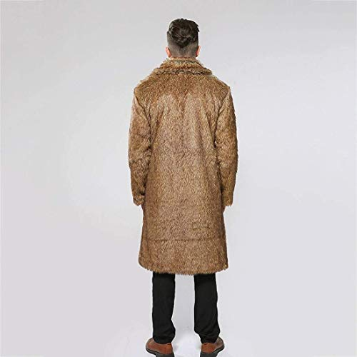 Jacket Fur Jacket Long Outwear Fur Fur Apparel Faux with Coat Pocket Art Coat Mens Brown Coat Faux Fur qq78rCwP