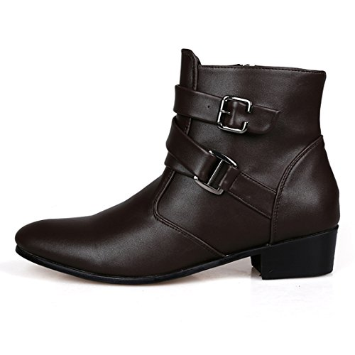 XIAFEN Men's Winter&Spring Fashion Boot With Ankle Buckle Straps High Top Dress Boots -