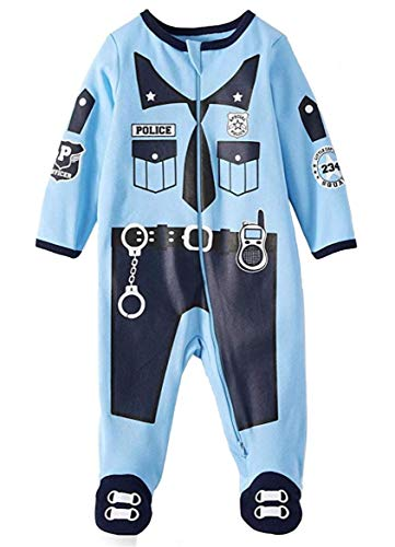 Assorted Policeman, Pumpkin, Cat, Ghost, Skeleton Baby Boys & Girls Halloween Footed Sleeper (Sizes Newborn-9 Months) (6-9 Months, Police Officer) -