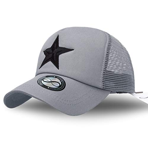 EASTONE Embroidery Double Star Baseball Cap Meshed Adjustable Cotton Trucker Hat (Gray)