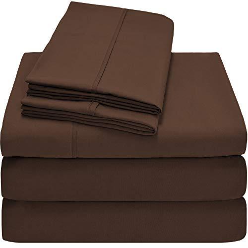 Bare Home Premium 1800 Ultra-Soft Microfiber Collection Sheet Set - Double Brushed - Hypoallergenic - Wrinkle Resistant - Deep Pocket (Split King, Cocoa)