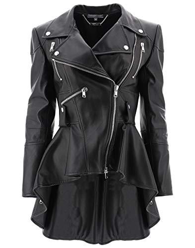 Alexander McQueen Women's 507772Q5lba1000 Black Leather Outerwear Jacket