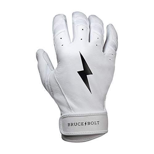BRUCE+BOLT Premium Short Cuff Batting Gloves - White XLarge SWXL (Best Batting Gloves On The Market)