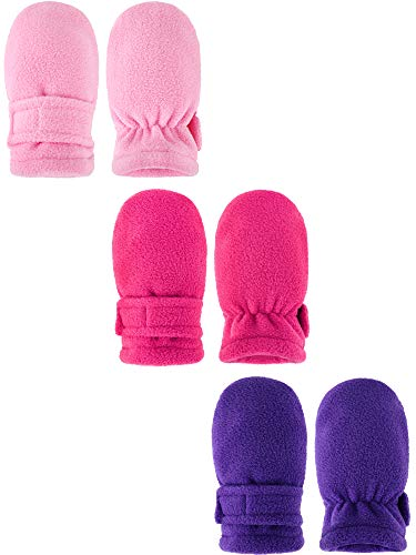 3 Pairs Baby Winter Mitten Gloves Fleece Warm Gloves Thickened Windproof Gloves for Kids Aged 6-18 Months (Color Set 2)