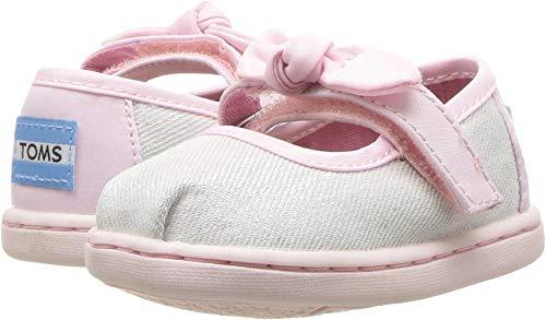 TOMS Kids Baby Girl's Mary Jane (Toddler/Little Kid) White Iridescent Twill Glimmer 4 M US -