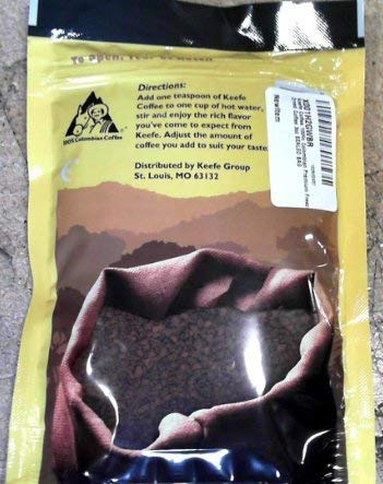 Keefe Coffee 100% Colombian Premium Freeze Dried Coffee 3oz SEALED BAG