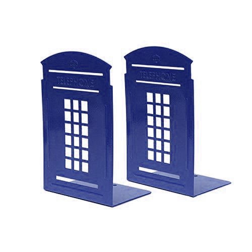 Boy Bookend (Bookends Blue, MerryNine 1 Pair Heavy Metal Non Skid Sturdy Telephone Booth Decorative Gift for Bookshelf Office School Library)