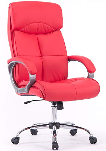 High-Back Swivel Chrome-Base Leather Ergonomic Executive Office Chair (Red)