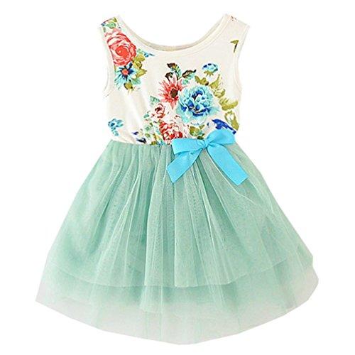 Nichna Little Girls Summer Sleeveless Floral Dress with Bowknot Tulle Tutu Sundress 2 Year Light Green
