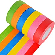 DEWEL Bright Colored Masking Tape,6 Pack 1 Inch 22 Yard Rolls Board Line Classroom Decorations Tape, Labeling,