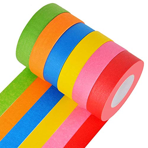 Colored Masking Tape - Bright Colored Masking Tape,6 Pack 1 Inch 22 Yard Rolls Board Line Classroom Decorations Tape, Labeling,DIY Art Supplies for Kids