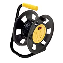 Designer's Edge E230 Retractable Extension Cord Storage Reel, Multi-Outlet Adapter, Black/Yellow